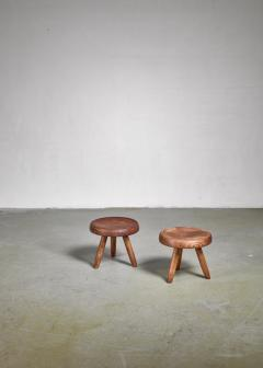 Charlotte Perriand Charlotte Perriand pair of low ash stools France - 1035656