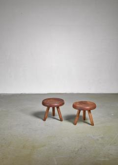 Charlotte Perriand Charlotte Perriand pair of low ash stools France - 1035657