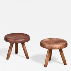 Charlotte Perriand Charlotte Perriand pair of low ash stools France - 1036573