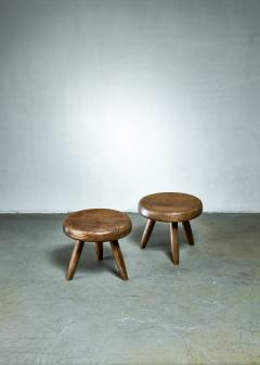 Charlotte Perriand Charlotte Perriand pair of low tripod stools France - 1233545