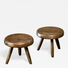 Charlotte Perriand Charlotte Perriand pair of low tripod stools France - 1234672