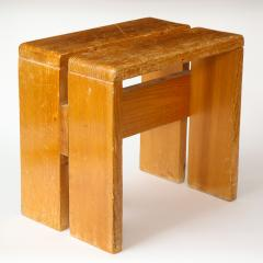 Charlotte Perriand Mid Century Natural Pine Les Arcs Stools by Charlotte Perriand France c 1960 - 1937517