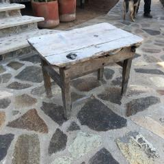 Charming Hacienda Vintage Work Table in Rustic Edge Mexican Mesquite Wood 1940s - 1896273