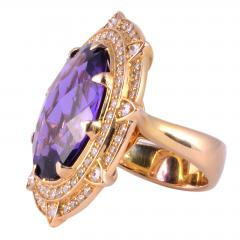 Checkerboard Cut Amethyst Diamond Cocktail Ring Size 7 - 1991384