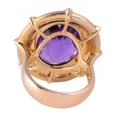 Checkerboard Cut Amethyst Diamond Cocktail Ring Size 7 - 1991385
