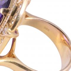 Checkerboard Cut Amethyst Diamond Cocktail Ring Size 7 - 1991386