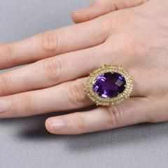 Checkerboard Cut Amethyst Diamond Cocktail Ring Size 7 - 1991388