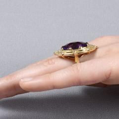 Checkerboard Cut Amethyst Diamond Cocktail Ring Size 7 - 1991389