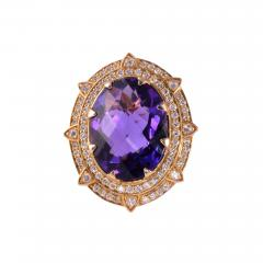 Checkerboard Cut Amethyst Diamond Cocktail Ring Size 7 - 1995251