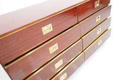 Chest of Drawers Sideboard in Mahogany and Brass 1970s - 2025526