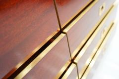 Chest of Drawers Sideboard in Mahogany and Brass 1970s - 2025527