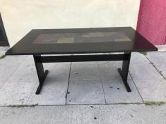 Chic Ebonized Slate Tile Topped Danish Dining Table - 325721