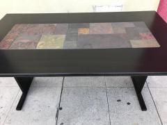 Chic Ebonized Slate Tile Topped Danish Dining Table - 325722