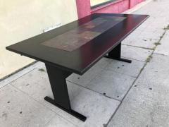 Chic Ebonized Slate Tile Topped Danish Dining Table - 325724