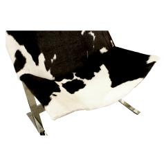 Chic Pair of Sling Chairs in Steel with Cow Hides 1963 - 509518