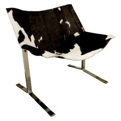 Chic Pair of Sling Chairs in Steel with Cow Hides 1963 - 509521