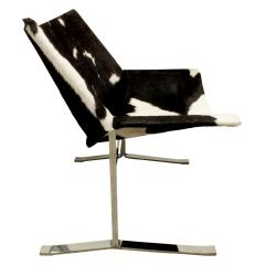 Chic Pair of Sling Chairs in Steel with Cow Hides 1963 - 509523