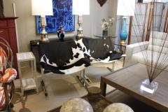 Chic Pair of Sling Chairs in Steel with Cow Hides 1963 - 509525