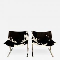 Chic Pair of Sling Chairs in Steel with Cow Hides 1963 - 511697