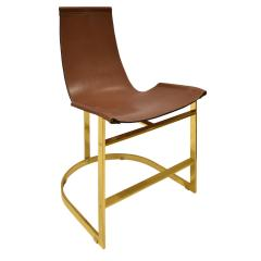 Chic Set of 4 Dining Game Chairs in Brass and Leather 1970s - 1148161