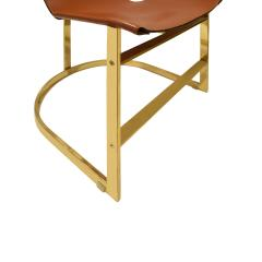 Chic Set of 4 Dining Game Chairs in Brass and Leather 1970s - 1148162