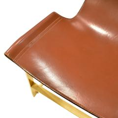 Chic Set of 4 Dining Game Chairs in Brass and Leather 1970s - 1148165
