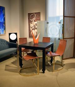 Chic Set of 4 Dining Game Chairs in Brass and Leather 1970s - 1148169