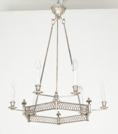 Chic silver plated six light hexagonal chandelier Directoire style - 1352667