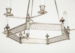 Chic silver plated six light hexagonal chandelier Directoire style - 1352672