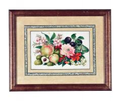 China Trade Watercolor and Gouache Set of Twelve Paintings of Fruit and Flowers - 1917108