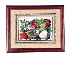 China Trade Watercolor and Gouache Set of Twelve Paintings of Fruit and Flowers - 1917109