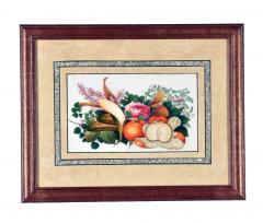 China Trade Watercolor and Gouache Set of Twelve Paintings of Fruit and Flowers - 1917114