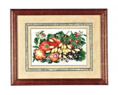China Trade Watercolor and Gouache Set of Twelve Paintings of Fruit and Flowers - 1917117