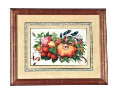 China Trade Watercolor and Gouache Set of Twelve Paintings of Fruit and Flowers - 1917118