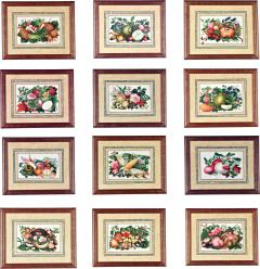 China Trade Watercolor and Gouache Set of Twelve Paintings of Fruit and Flowers - 1917230