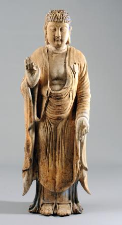 Chinese Carved Wood Teaching Buddha in Ming Style - 1220592