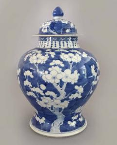 Chinese Export Blue and White Prunus Vase and Lid - 865363