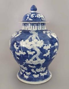 Chinese Export Blue and White Prunus Vase and Lid - 865364