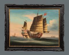 Chinese Export Painting of Ocean Junk in Original Chinese Chippendale Frame - 879585