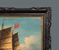 Chinese Export Painting of Ocean Junk in Original Chinese Chippendale Frame - 879587