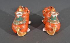 Chinese Export Porcelain Canton Pair of Foo Dog Candlesticks - 1617912