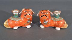 Chinese Export Porcelain Canton Pair of Foo Dog Candlesticks - 1617913
