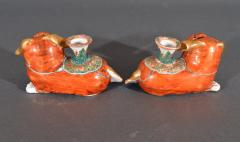 Chinese Export Porcelain Canton Pair of Foo Dog Candlesticks - 1617914