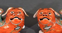 Chinese Export Porcelain Canton Pair of Foo Dog Candlesticks - 1617927
