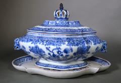 Chinese Export Porcelain Rare Blue White Soup Tureen Cover Stand - 1659129