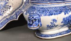 Chinese Export Porcelain Rare Blue White Soup Tureen Cover Stand - 1659130
