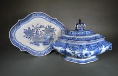 Chinese Export Porcelain Rare Blue White Soup Tureen Cover Stand - 1659131