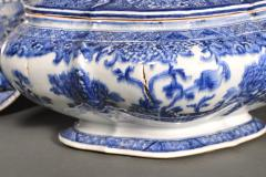 Chinese Export Porcelain Rare Blue White Soup Tureen Cover Stand - 1659132