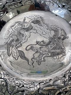 Chinese Export Silver Dragon Serving Tray - 1969018