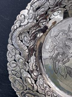 Chinese Export Silver Dragon Serving Tray - 1969019